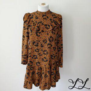 Top Shop Dress Orange Black High Neck Ruffles Knee